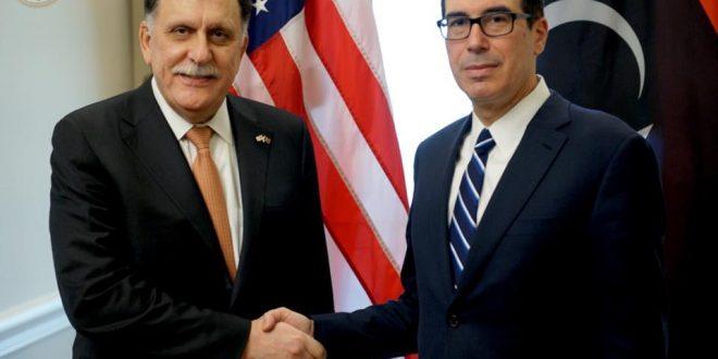 """""""السراج"""" يبحث الوضع الاقتصادي الليبي مع وزير الخزانة الأمريكي"""
