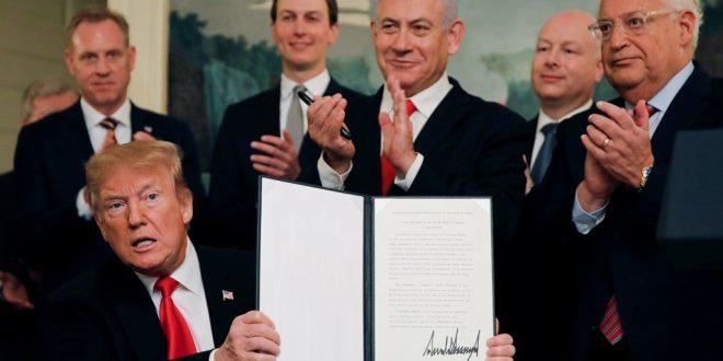 ترامب يوقع إعلانا يعترف بسيادة إسرائيل على هضبة الجولان