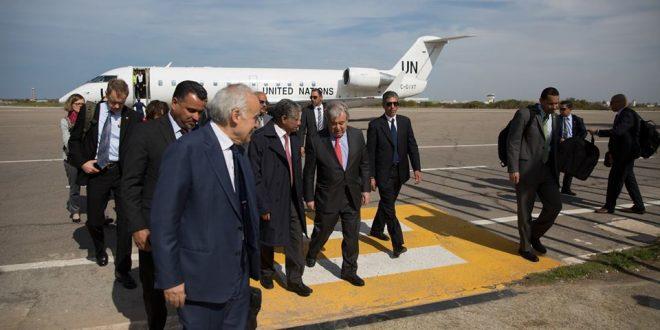 الأمين العام للأمم المتحدة يصل العاصمة طرابلس ويدعو للتهدئة وضبط النفس