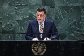السراج يرفض من على منبر الأمم المتحدة التدخل الإماراتي المصري الفرنسي في الشأن الداخلي الليبي