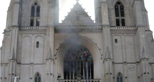 حريق يدمر آلة العزف الكنسي ويهشم نوافذ كاتدرائية نانت في فرنسا