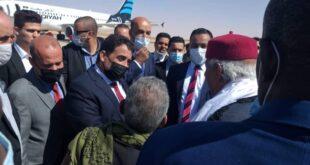 رئيس المجلس الرئاسي محمد المنفي ونائبيه موسى الكوني وعبد الله اللافي يصلون مدينة بسبها