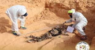 انتشال جثة مجهولة الهوية من مقابر ترهونة ليصل إجمالي الجثث إلى (38) في أقل من شهر